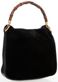 Luxury Accessories:Accessories, Gucci Black Suede & Leather Hobo Bag with Bamboo Handle. ...