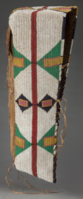 American Indian Art:Beadwork and Quillwork, A SIOUX BEADED CANVAS BABY CARRIER. c. 1900...