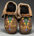 American Indian Art:Beadwork and Quillwork, A PAIR OF PLATEAU BEADED HIDE MOCCASINS. c. 1900... (Total: 2Items)