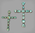 American Indian Art:Jewelry and Silverwork, TWO NAVAJO SILVER AND TURQUOISE CROSSES. c. 1960... (Total: 2Items)