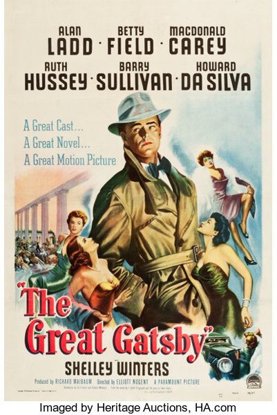 """The Great Gatsby (Paramount, 1949). One Sheet (27"""" X 40.75"""").. ...   Lot  #86872   Heritage Auctions"""