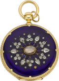 Timepieces:Pocket (pre 1900) , Patek Philippe & Co. Early Gold, Diamond & Enamel PocketWatch For Tiffany & Co., circa 1860. ...