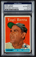Autographs:Sports Cards, Signed 1958 Topps Yogi Berra #370 PSA/DNA Authentic....