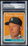 Autographs:Sports Cards, Signed 1958 Topps Mickey Mantle #150 PSA/DNA Authentic. ...