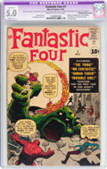 Silver Age (1956-1969):Superhero, Fantastic Four #1 (Marvel, 1961) CGC Apparent VG/FN 5.0 Slight(C-1) Cream to off-white pages....