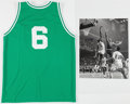 Basketball Collectibles:Uniforms, Circa 2010 Bill Russell Signed Boston Celtics Jersey &Photograph Lot of 2....