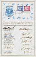 Explorers:Space Exploration, Mercury Seven Astronauts: 1962 United Nations First Day SouvenirSheet Signed by All....