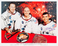 Autographs:Celebrities, Apollo 13 Original Crew-Signed White Spacesuit Color Photo. ...