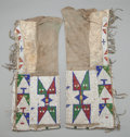 American Indian Art:Beadwork and Quillwork, A PAIR OF SIOUX WOMAN'S BEADED HIDE LEGGINGS. c. 1890... (Total: 2Items)