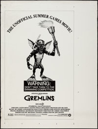 """Gremlins (Warner Brothers, 1984). Printer's Proof One Sheet (35"""" X 46"""") Summer Games Style. Horror"""