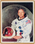 Autographs:Celebrities, Neil Armstrong Signed White Spacesuit Color Photo.... (Total: 2 )