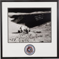 Autographs:Celebrities, Dave Scott Signed Large Apollo 15 Lunar Surface Photo in a Framed Display with Embroidered Mission Insignia Patch....