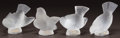Art Glass:Lalique, FOUR LALIQUE FROSTED GLASS BIRDS. Post 1945. All engravedLalique, France. Ht. 3-1/4 in. (largest). ... (Total: 4Items)