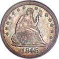 Seated Quarters, 1848 25C MS64 NGC. CAC. Briggs 1-A....