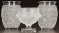 Glass, THREE LALIQUE CLEAR AND FROSTED GLASS BAGATELLE VASES. Post 1945. All engraved Lalique, France. Ht. 3/4 in. ... (Total: 3 Items)