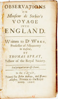 Books:Travels & Voyages, Sprat, Thomas. Observations on Monsieur de Sorbier's Voyage into England. Written to Dr. Wren, Professor of Astro...