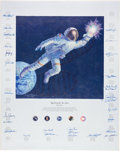 """Explorers:Space Exploration, Alan Bean Signed Limited Edition """"Reaching for the Stars"""" Textured Canvas Print Signed by Thirty Astronauts, #192/1500. ..."""