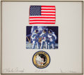 Explorers:Space Exploration, Apollo 12 Flown American Flag in a Crew-Signed PresentationOriginally from the Personal Collection of Mission Lunar ModulePi...