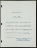 Baseball Collectibles:Others, 1947 Eddie Collins Signed Document....