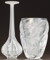 LALIQUE CLEAR AND FROSTED GLASS CLAUDE AND MARTINETS VASES<