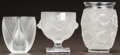 Art Glass:Lalique, THREE LALIQUE CLEAR AND FROSTED GLASS VASES. Post 1945. Engraved Lalique, France to all. Ht. 7 in. (largest). ... (Total: 3 Items)