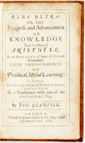 Books:Philosophy, [Featured Lot] Glanvill, Joseph. Plus Ultra: Or, The Progress and Advancement Of Knowledge Since the Days of Aristot...