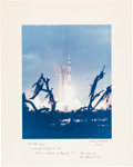 Autographs:Celebrities, Apollo 14 Large Color Launch Photo Signed on the Mat by Alan Shepard. ...
