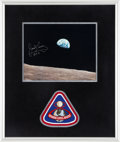 "Autographs:Celebrities, James Lovell Signed ""Earthrise"" Color Photo with EmbroideredMission Insignia Patch in Framed Display. ..."