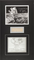 Explorers:Space Exploration, Apollo 14: Original Production Die for the Lunar Plaque Matted with Edgar Mitchell Signed Lunar Surface Color Photo. ...