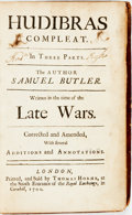 Books:Literature Pre-1900, Butler, Samuel. Hudibras Compleat. In ThreeParts...Written in the Time of the Late Wars. Corrected andAmended, W...