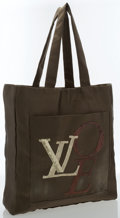 "Luxury Accessories:Bags, Louis Vuitton Khaki Satin That's Love Tote Bag . Good to Very GoodCondition . 13"" Width x 14"" Height x 3"" Depth, 8"" Handle ..."