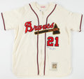 Baseball Collectibles:Uniforms, Warren Spahn Signed Milwaukee Braves Flannel Jersey....