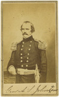 Military & Patriotic:Civil War, Early Albert Sidney Johnston CDV. This fine image clearly shows Albert Sidney Johnston (1802-1862) in the uniform of a Major...