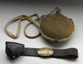 Military & Patriotic:Civil War, Belt, Buckle, Cap Box, and Canteen. Civil War canteen (complete with brown wool cover, stopper, and cloth strap). Belt is f...