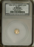 California Fractional Gold: , 1854 25C Liberty Octagonal 25 Cents, BG-105, R.3,--MountRemoved--NCS. XF Details. PCGS Population (0/20...