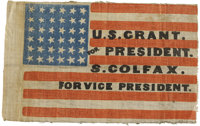 Flag From 1868 Republican Presidential Campaign of U.S. Grant and Schuyler Colfax This small cotton single-sided flag me...