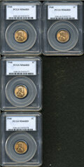 Lincoln Cents: , (4)-1940 1C MS66 Red PCGS.... (Total: 4 Coins)