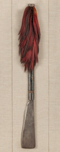 Tribal Art, Naga, (Northeastern India). Axe. Wood, iron, dyed hair, custommount . Height: 30 inches. ...