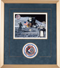Explorers:Space Exploration, Apollo 15 Flown Sample of Lunar Dust on a Limited Edition Color Photo Presentation, #31/50, Framed with an Embroidered Mission...