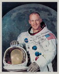Autographs:Celebrities, Buzz Aldrin Signed White Spacesuit Color Photo....