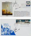 "Explorers:Space Exploration, Jim Irwin Signed Covers (Two), Apollo 15 Launch and ""Decade ofAchievement"" First Day. ..."