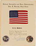 Explorers:Space Exploration, Apollo 17 Flown American Flag on Original Presentation Certificate Signed by Mission Commander Gene Cernan. ...