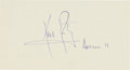Autographs:Celebrities, Neil Armstrong Signature on Card with Added Mission Name. ...