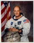 Autographs:Celebrities, Tom Stafford Signed White Spacesuit Color Photo....