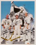 Autographs:Celebrities, Apollo 12 Crew-Signed White Spacesuit Color Photo....