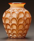Art Glass:Lalique, R. LALIQUE AMBER GLASS LAITERONS VASE WITH WHITE PATINA.Circa 1931. Stenciled R. LALIQUE, FRANCE. M p. 454, N...