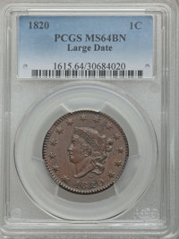 1820 1C Large Date MS64 Brown PCGS. PCGS Population: (244/181). NGC Census: (164/174). CDN: $1,025 Whsle. Bid for proble...