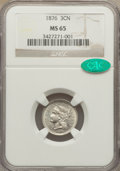 Three Cent Nickels, 1876 3CN MS65 NGC. CAC....