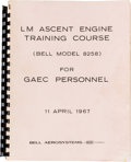Explorers:Space Exploration, Apollo Lunar Module: LM Ascent Engine Training Course Bookby Bell Aerosystems. ...