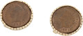 Explorers:Space Exploration, Wally Schirra-Owned Indian Head Cent Cufflinks Originally from HisPersonal Collection, with LOA....